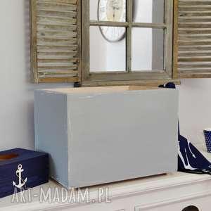pudełko do przechowywania szare, pudełka, shabby chic, vintage, pudełka z drewna