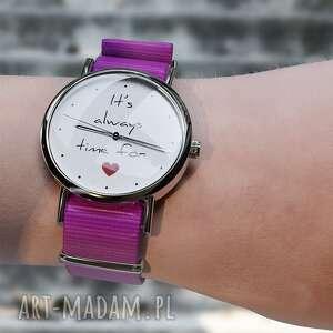 handmade zegarki zegarek - time for love amarant, nylonowy