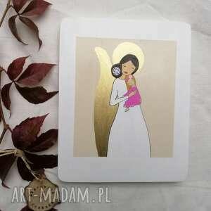 hand made dla dziecka anioł stróż dziewczynki na chrzest święty