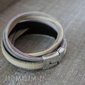 bransoletki kremowa srebrna bransoletka , podwójna, owijana, kremowa, wiosenna
