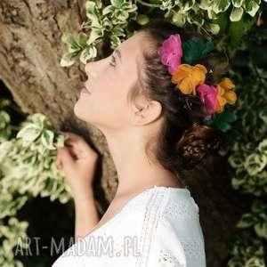 hand-made ozdoby do włosów kwiat zielony