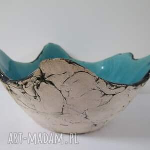 turkusowa miska jak skała, ceramiczna, dekoracyjna miska, organiczna