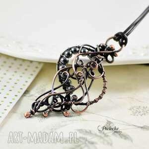 GRAY - NASZYJNIK Z WISIOREM, naszyjnik, wisior, hematyt, wire-wrapping, boho, miedź
