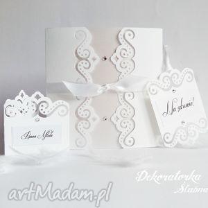 Zaproszenia ślub Eleganckie ślubne śnieżnobiałe Ażurowe