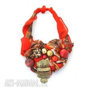 RHAPSODY RED naszyjnik handmade, naszyjnik, kolia, wisior, czerwony, złoty