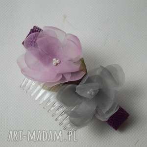 prezenty na święta, grzebyk kwiatowy, grzebyk, jedwab, szary, róż