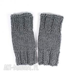 mitenki krótkie szare - mitenki, rękawiczki, zima, dziergana