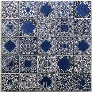 handmade ceramika kafle ciemnoniebieskie arabeski