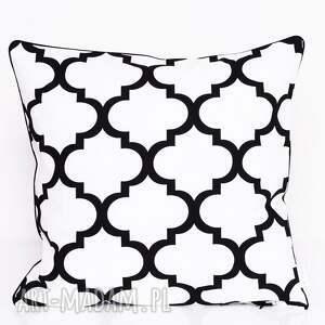 hand-made poduszki poduszka bawełnina koniczyna biało-czarna 40x40cm