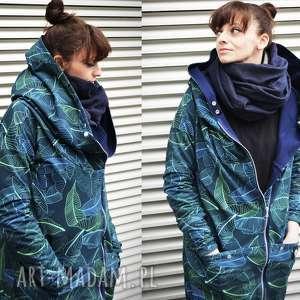 handmade bluzy długa bluza oversize z motywem liści bananowców, ogromny kaptur xs