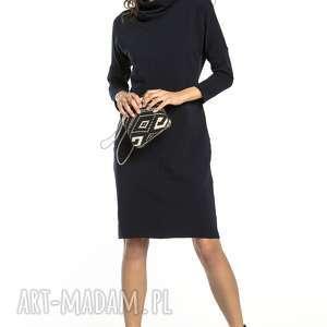luźna sukienka z dzianiny dresowej, t290, granatowy, luźna, sukienka, golfik