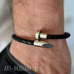 bransoletka skórzana męska uno plait spike steel czarna