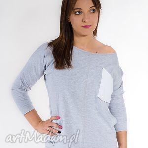 Damska szara bluzka z kieszonką bluzki gapula bawełna, kieszeń