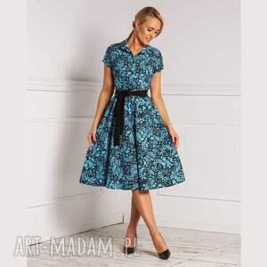 sukienki sukienka sabina midi daniella, szmizjerka, z kołnierzem