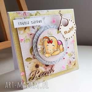 kartka na roczek ze stemplem- dziewczynka - dziecko, urodziny, stempel scrapbooking