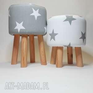 Pufa Białe Gwiazdki - 36 cm , puf, taboret, hocker, vintage, stołek, ryczka