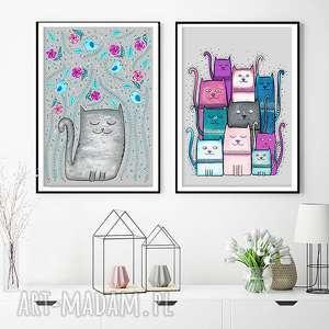 zestaw 2 prac 50x70cm, zestaw, plakat, obraz, kot, koty, prezent na święta