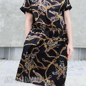 sukienki drukowana satynowa sukienka xxl