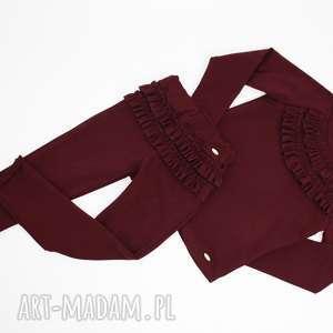 hand-made ubranka zestaw burgundowy z falbankami
