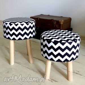 Prezent Podnóżek Fjerne S czarne zygzaki tkanina Home Decor, pufa, stołek, siedzisko
