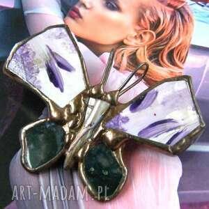 broszki broszka - wisior motyl malowany z agatem, motyl, malowana, agat mszysty
