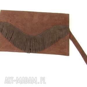 ręcznie wykonane torebka skórzana kopertówka - brąz z frędzlami