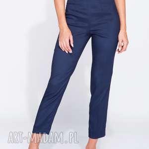 Eleganckie spodnie do kostki 7/8 granatowe, zwężane, z-połyskiem, do-kostki