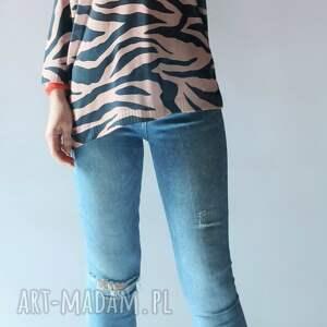 swetry sweter damski oversize zebra, luźny, drukowany, sweter, damski, zebra