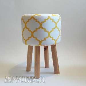 Pufa Koniczyna Maroco Biało - Żółta 2, puf, taboret, siedzisko, stołek, ryczka