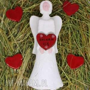 ślub anioł ceramiczny z sercem 22 cm prezent urodziny twoim napisem handmade