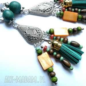 handmade klipsy etno boho wiszace długie