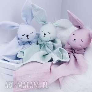 maskotki muślinowy króliczek dla najmłodszych, przytulanka, maskotka, lalka, muślin