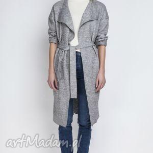 płaszcz, pa101 szary, trencz, casual, pasek, szlafrokowy