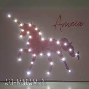 pomysł na prezent pod choinkę ŚWIECĄCY JEDNOROŻEC obraz 60x80 pastel IMIĘ lampka