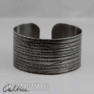 .Prążki - metalowa bransoletka, bransoleta, szeroka, metalowa, alpaka