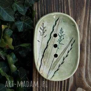 Mydelniczka trawy ceramika enio art mydelniczka, mydło,