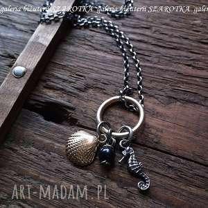 morskie skarby naszyjnik ze srebra i naturalnej perły - perła, srebro