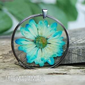 naszyjniki naszyjnik z niebieskimi kwiatami w cynowej oprawie z352, niebieskie