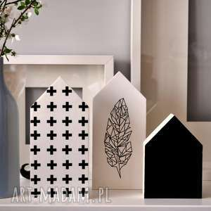 3 x domki drewniane, domki, domek, plusy, pióra, pólka