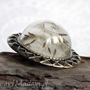 dmuchawcowe terrarium - broszka unikat, dmuchawce, dmuchawiec, szkło, bańka