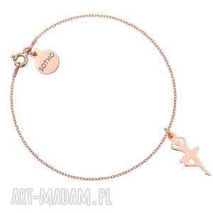 Bransoletka z różowego złota z baletnicą