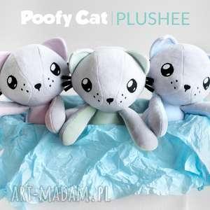 maskotki kot przytulanka - poofy cat plushee szaro-miętowy, kot, kotek