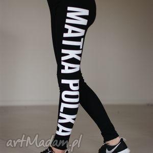 ręcznie wykonane spodnie oryginalne czarne legginsy z napisem matka polka