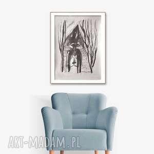 grafika czarno-biała, pocałunek 9, 34 x 46, abstrakcja, minimalizm