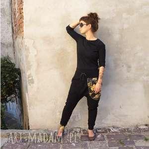 sportowe komplet damski bluza i spodnie - złote monstery, dres damski, czarny