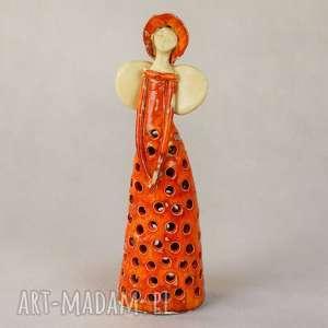 ceramika anioł lampion, ceramiczny, wykonany ręcznie