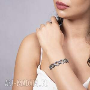 bransoletka europa srebrna, oksydowana z cyrkoniami, srebrna