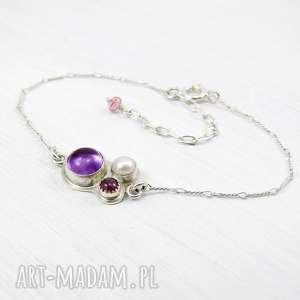 Kalejdoskop w purpurze, delikatna, subtelna, kobieca, romantyczna, perła, ametyst