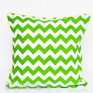 poduszka zygzak green 50x50cm, poduszka, jasiek, 50x50, chevron, zygzak