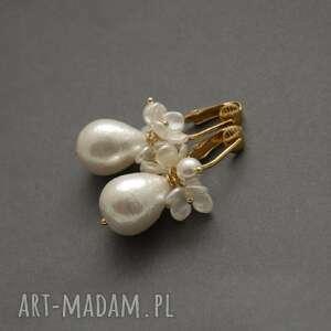 pod choinkę prezent, klipsy z perełkami, perła, wyjściowe, wiszące